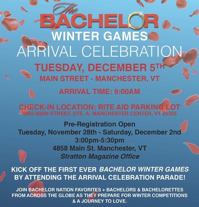 'The Bachelor: Winter Games' Arrival Celebration flyer - VERMONT PRODUCTION COUNCIL
