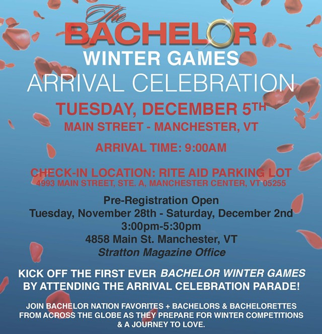'The Bachelor: Winter Games' Arrival Celebration flyer - VERMONT PRODUCTION COUNCIL