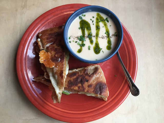 Grilled cheese sandwich and soup at Lost Nation Brewing - SALLY POLLAK