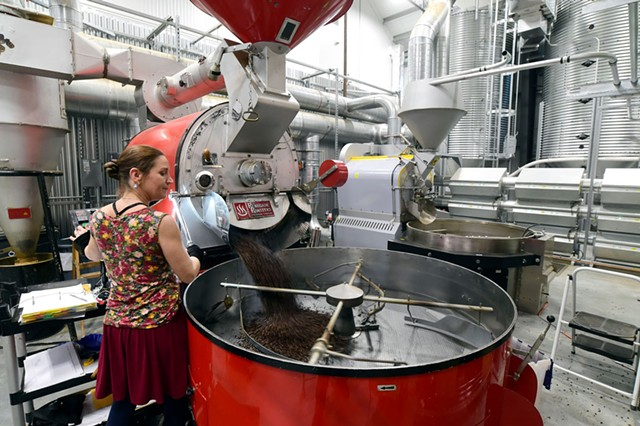 Anji Heath running the large roaster - JEB WALLACE-BRODEUR