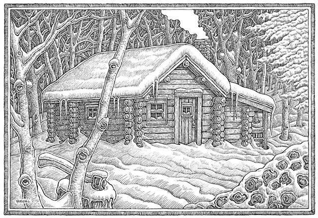 Cabin illustration by Mike Biegel - COURTESY OF MIKE BIEGEL