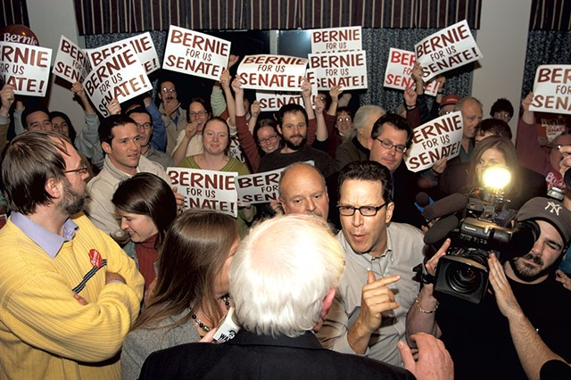Phil Fiermonte talking to Bernie Sanders on election night in November 2006 - FILE: MATTHEW THORSEN