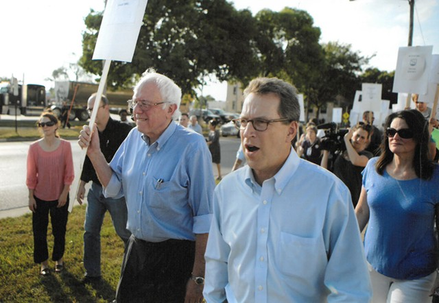 Sen. Bernie Sanders and Phil Fiermonte walk a picket line in Cedar Rapids, Iowa, in September 2015 - COURTESY: PHIL FIERMONTE