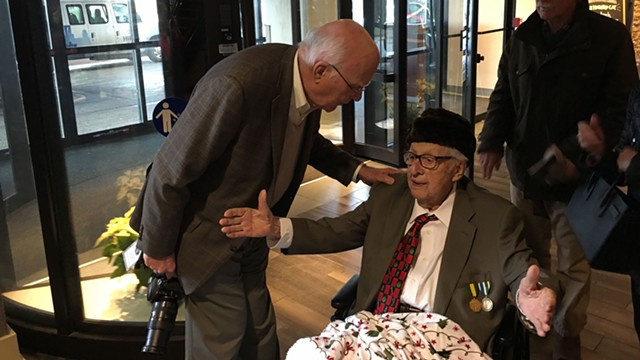 Sen. Patrick Leahy (D-Vt.) and Antonio Pomerleau on Sunday at the Hilton Burlington - JOHN WALTERS