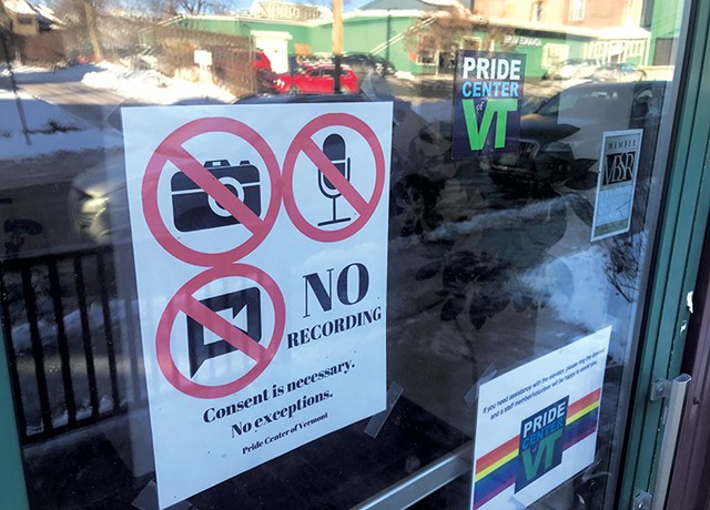 Sign on the door of the Pride Center of Vermont - TAYLOR DOBBS