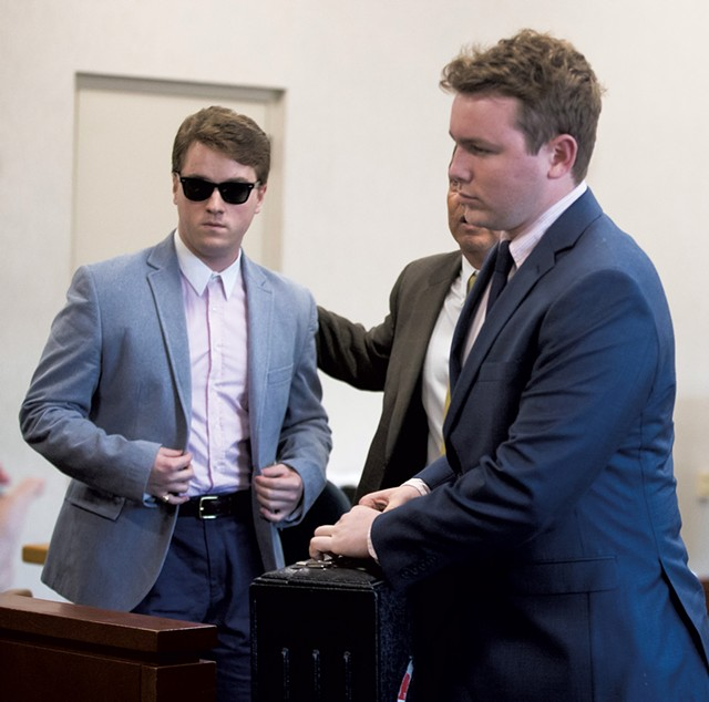 Wesley Richter, left, at Vermont Superior Court in Burlington in October - JAMES BUCK