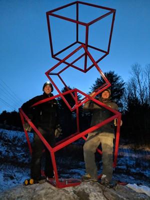 Tim Clark and Baptiste Lefrançois with sculpture pre-theft - COURTESY OF TIM CLARK