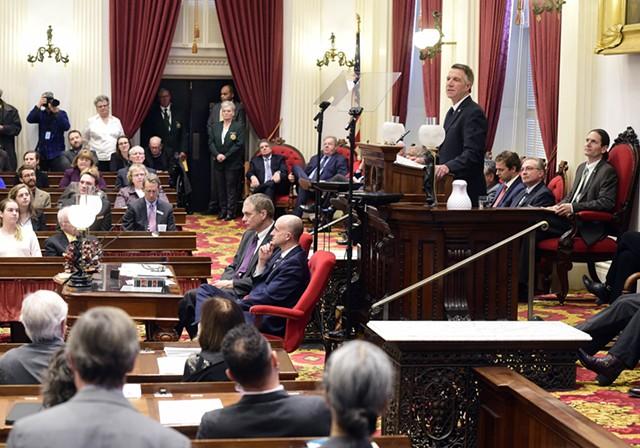 Gov. Phil Scott addressing the legislature - JEB WALLACE-BRODEUR