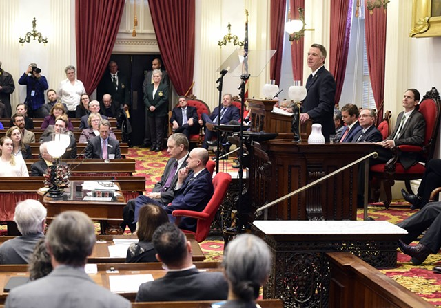 Gov. Phil Scott addressing the legislature - FILE: JEB WALLACE-BRODEUR