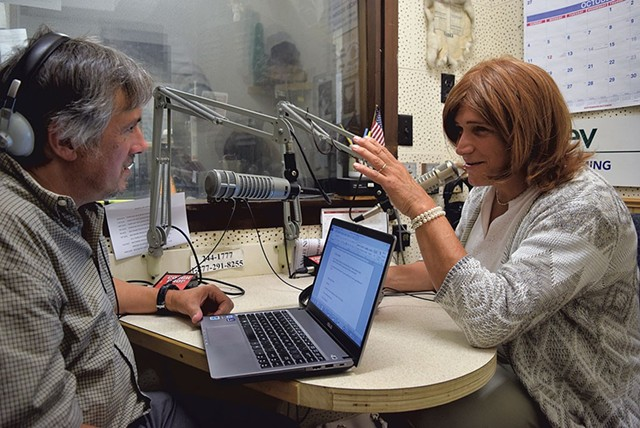 Christine talking to WDEV radio host David Goodman - FILE: TERRI HALLENBECK