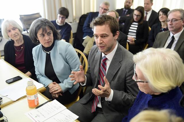 Senate President Pro Tempore Tim Ashe (center) - FILE: JEB WALLACE-BRODEUR
