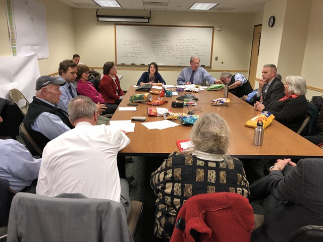Senate Democrats met in the basement of a state office building. - ALICIA FREESE