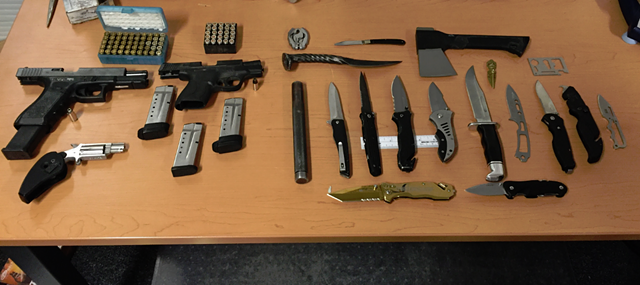 Weapons seized during the arrest of William Bowler and Alexander Charbonneau. - COURTESY OF BURLINGTON POLICE
