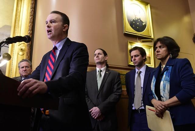 Attorney General T.J. Donovan and legislative leaders addressing gun legislation - JEB WALLACE-BRODEUR