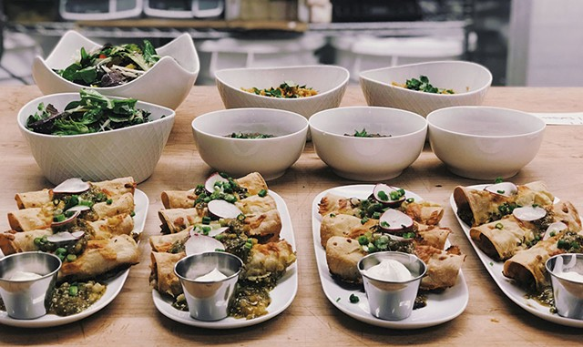 Family-style enchiladas with salsa verde at Sweet Simone's Monday Night Eats - COURTESY OF SWEET SIMONE'S