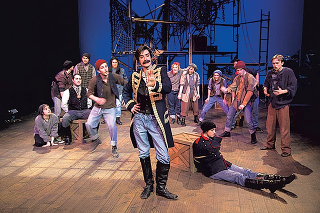 Christian DeKett (center) as Black Stache with the cast of Peter and the Starcatcher - COURTESY OF DOK WRIGHT