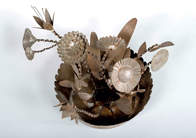 """""""Tin Whimsy Bowl of Flowers"""" by unknown artist - COURTESY OF SHELBURNE MUSEUM"""