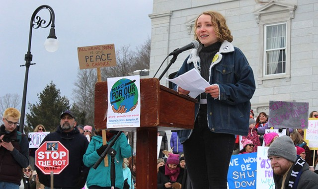 Greta Solsaa speaking at the March for Our Future in January - COURTESY OF GRETA SOLSAA