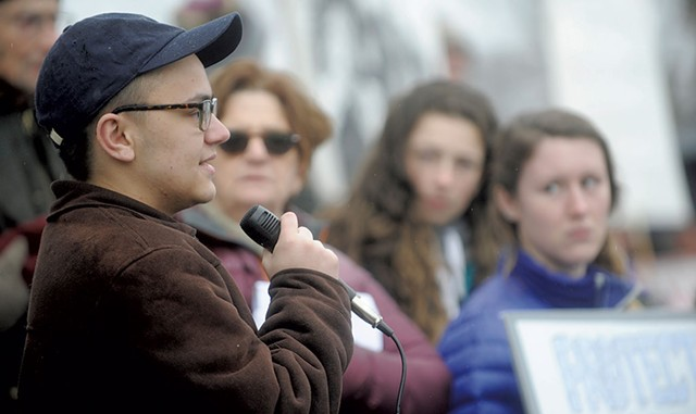 Nathan DeGroot at a Gun Sense Vermont rally in Montpelier - JAY ERICSON