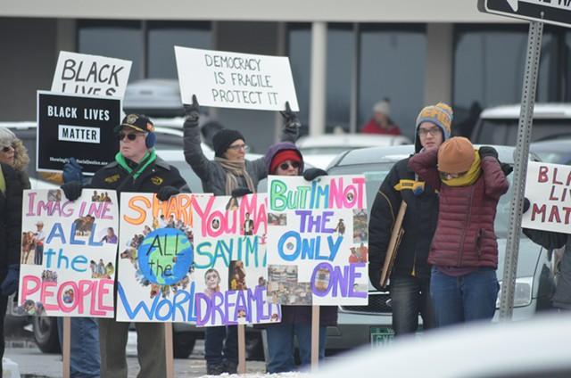 Protesters rally on Williston Road last month. - FILE: SASHA GOLDSTEIN