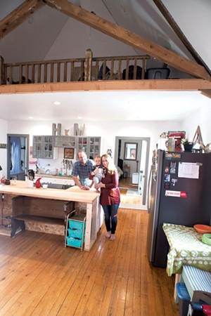 Haley Rice and MacArthur Stine with son Keaton in their home, a renovated churchin Castleton - CALEB KENNA
