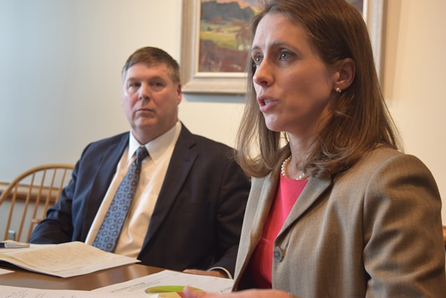 Mary Kate Mohlman, state director of health care reform, and Al Gobeille, secretary of the Agency of Human Services - FILE: TERRI HALLENBECK
