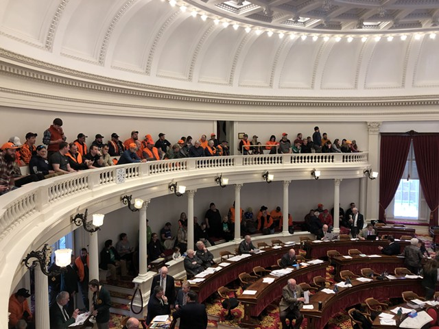 Gun rights proponents look on as Vermont House members debate gun legislation. - ALICIA FREESE