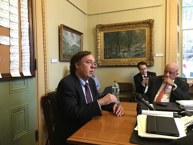 Richard Biby testifying before the Senate Finance Committee as Sen. Randy Brock looks on - JOHN WALTERS