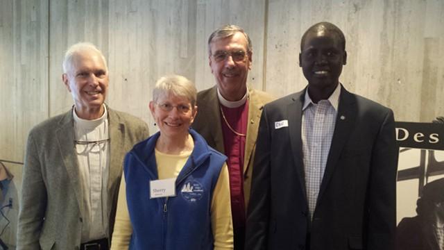 From left: Deacon Stan Baker, Rev. Sherry Osborn, Bishop Thomas Ely, Chol Dhoor - KYMELYA SARI
