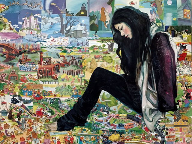 """One of four works from Misoo Filan's """"Giant Asian Girls"""" series - COURTESY OF BCA CENTER"""