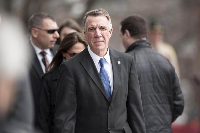Gov. Phil Scott arrives at the statehouse for the bill-signing ceremony. - JOSH KUCKENS