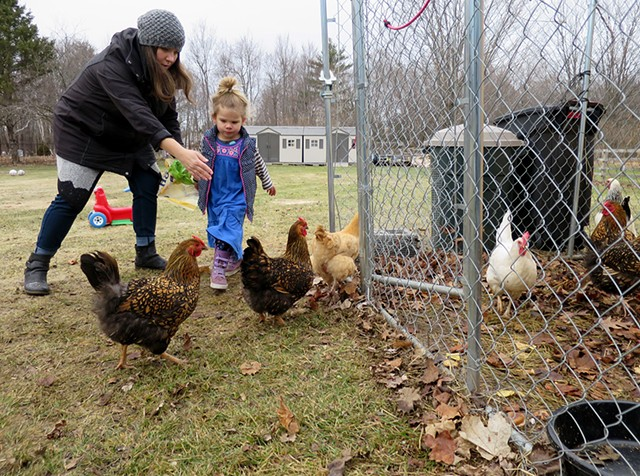 Joanna and Genevieve Scott collecting eggs from their backyard hens - MATTHEW THORSEN