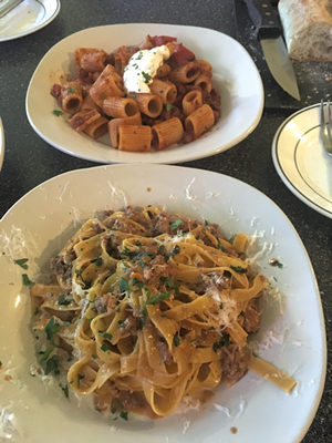 Handmade pasta in a Bolognese sauce and rigatoni special at Blue Moose Italian Bistro - SADIE WILLIAMS