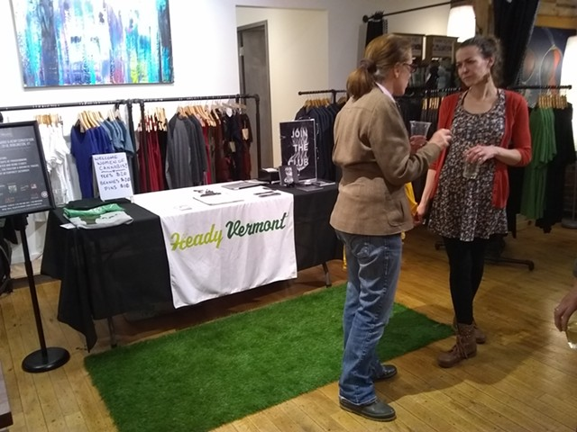 Heady Vermont CEO Monica Donovan, right, chats with an attendee. - KATIE JICKLING
