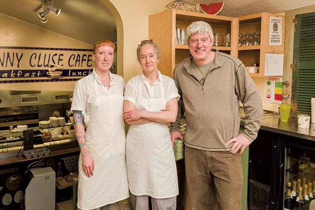 Left to right: Line cook Elizabeth Goddette, chef Maura O'Sullivan and chef-owner Charles Reeves - OLIVER PARINI