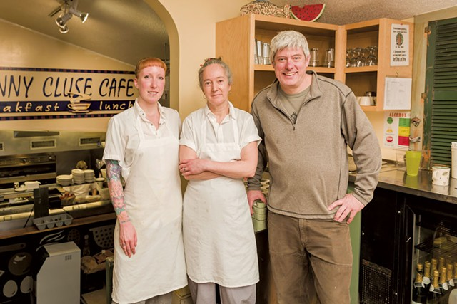 Left to right: Line cook Elizabeth Goddette, chef Maura O'Sullivan and chef-owner Charles Reeves - OLIVER PARINI