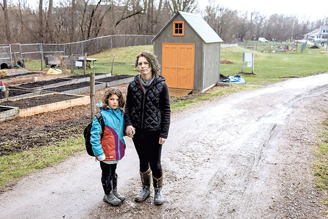 Joanna Grossman and her daughter, Isa, at Champlain Elementary School - OLIVER PARINI
