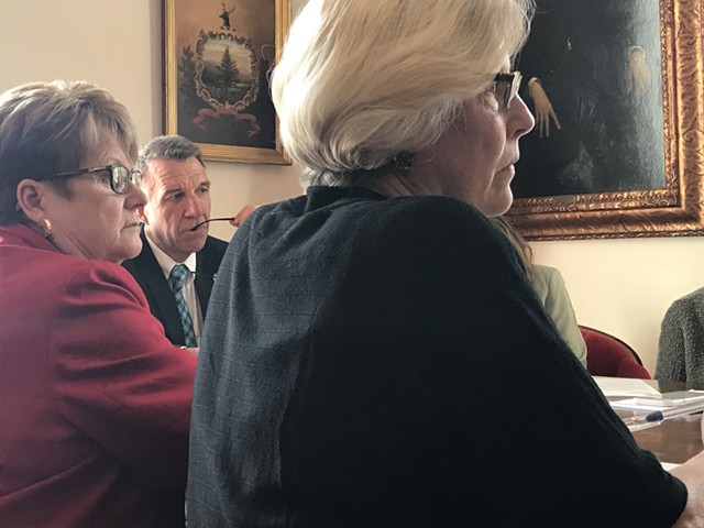 Senate Finance chair Ann Cummings, left, Gov. Phil Scott and Senate Appropriations chair Jane Kitchel - TAYLOR DOBBS