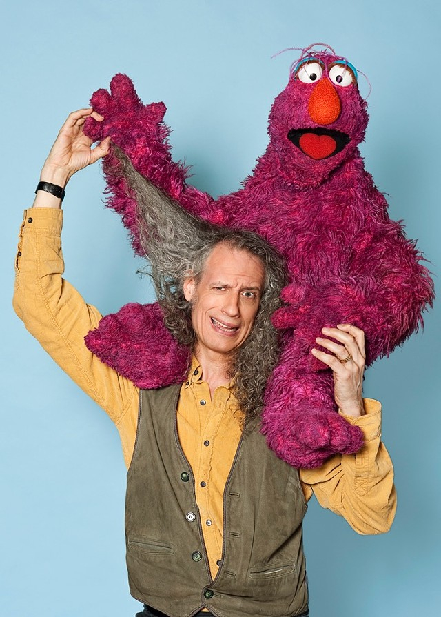 Martin Robinson with Telly Monster puppet - COURTESY OF SHELBURNE MUSEUM
