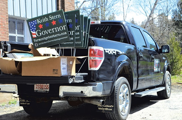 Keith Stern campaign manager Rebecca Bailey's truck in St. Johnsbury - PAUL HEINTZ
