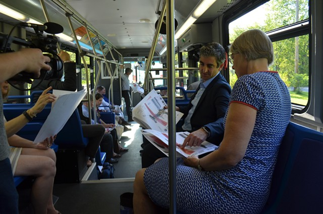 Mayor Miro Weinberger and Councilor Joan Shannon conferring over Parkway plans - KATIE JICKLING