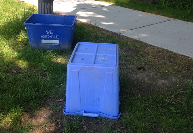 Recycling bins by the curb on Lake Street in Burlington - MOLLY WALSH