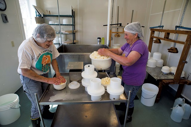 Marian Pollack (left) and Marjorie Susman making cheese - CALEB KENNA