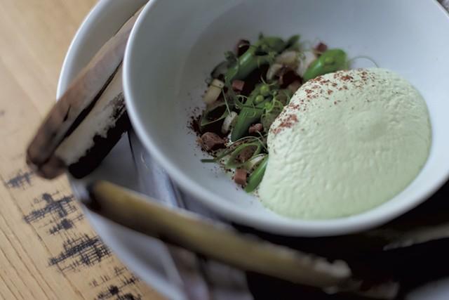 Wild Roots' razor clams with peas and pea crema - SARAH PRIESTAP