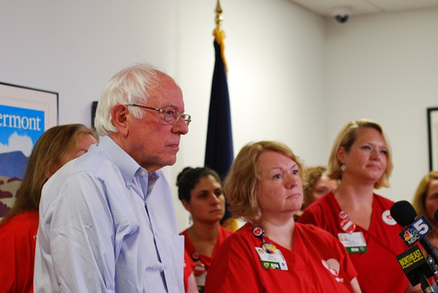 Sanders with union vice president Deb Snell and lead negotiator Julie MacMillan - SARA TABIN