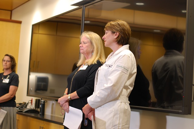 The hospital's chief operating officer Eileen Whalen (center) and Dr. Isabelle Desjardins at Tuesday's press conference - SARA TABIN