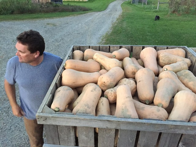 Eric Rozendaal with his butternut squash at Rockville Market Farm in Starksboro - SALLY POLLAK