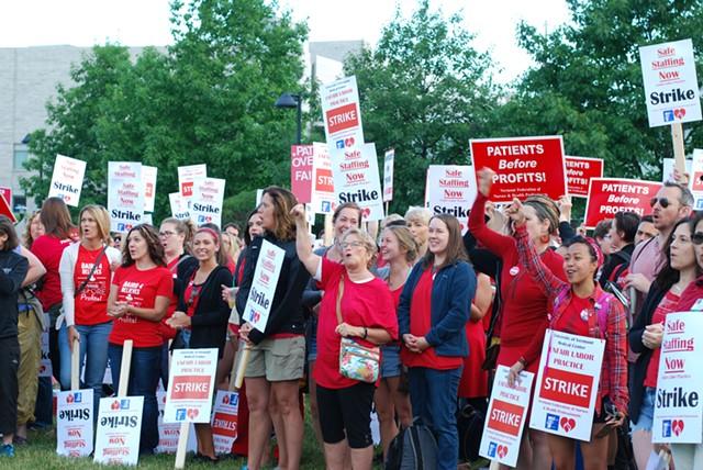 Nurses were up early to rally outside the hospital. - SARA TABIN