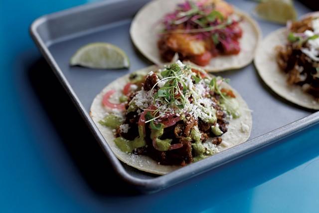 A three-taco plate with carne asada, pork and ahi tuna at Trail Break Taps + Tacos - SARAH PRIESTAP