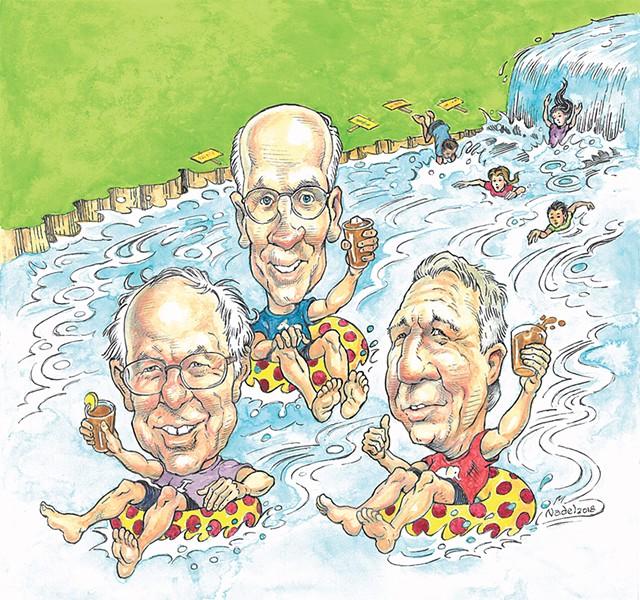 From left: U.S. Sen. Bernie Sanders (I-Vt.), U.S. Rep. Peter Welch (D-Vt.) and Gov. Phil Scott - MARC NADEL